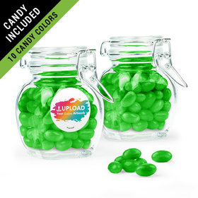 Personalized Business Add Your Logo Favor Assembled Swing Top Jar Filled with Just Candy Jelly Beans