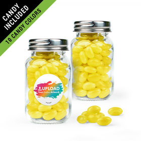 Personalized Business Add Your Logo Favor Assembled Mini Mason Jar Filled with Just Candy Jelly Beans