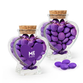 Personalized Business Add Your Logo Favor Assembled Heart Jar Filled with Just Candy Milk Chocolate Minis