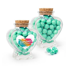 Personalized Business Add Your Logo Favor Assembled Heart Jar Filled with Sixlets