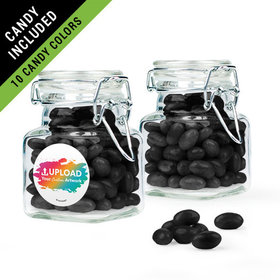 Personalized Business Add Your Logo Favor Assembled Swing Top Square Jar Filled with Just Candy Jelly Beans