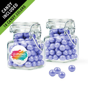 Personalized Business Add Your Logo Favor Assembled Swing Top Square Jar Filled with Sixlets