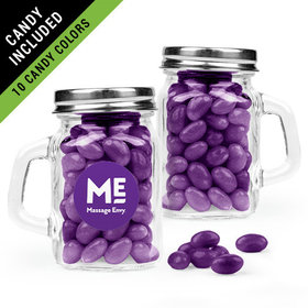 Personalized Business Add Your Logo Favor Assembled Mini Mason Mug Filled with Just Candy Jelly Beans
