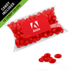 Personalized Business Add Your Logo Favor Assembled Pillow Box Filled with Just Candy Jelly Beans