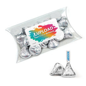 Personalized Business Add Your Logo Favor Assembled Pillow Box Filled with Hershey's Kisses