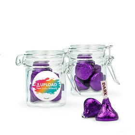 Personalized Business Add Your Logo Favor Assembled Swing Top Round Jar Filled with Hershey's Kisses