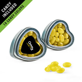 Personalized Business Add Your Logo Favor Assembled Heart Tin Filled with Just Candy Jelly Beans