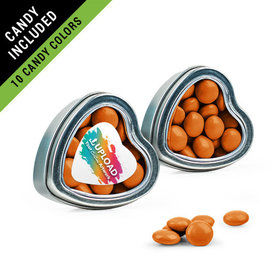 Personalized Business Add Your Logo Favor Assembled Heart Tin Filled with Just Candy Milk Chocolate Minis