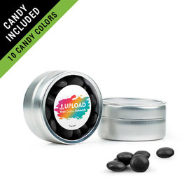 Personalized Business Add Your Logo Favor Assembled Mini Round Tin Filled with Just Candy Milk Chocolate Minis