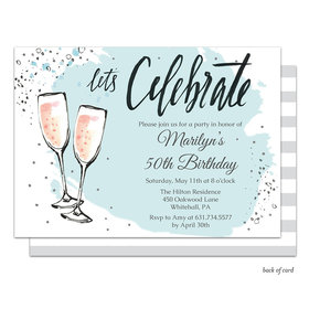 Bonnie Marcus Collection Bubbly Birthday Party Invitation Blue