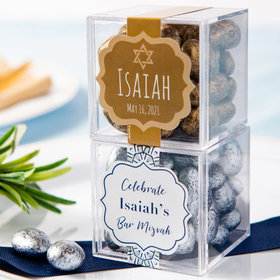 Personalized Bar Mitzvah JUST CANDY® favor cube with Premium Almond Jewels
