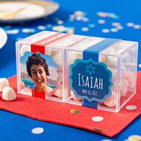 Personalized Bar Mitzvah JUST CANDY® favor cube with Jelly Belly Gumdrops