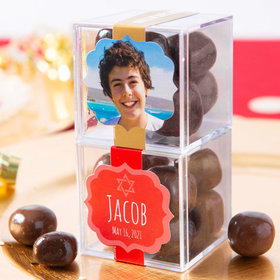 Personalized Bar Mitzvah JUST CANDY® favor cube with Premium Milk & Dark Chocolate Sea Salt Caramels