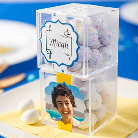 Personalized Bar Mitzvah JUST CANDY® favor cube with Premium Confetti Cookie Bites