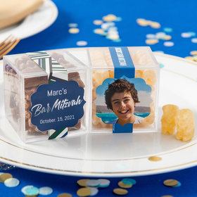 Personalized Bar Mitzvah JUST CANDY® favor cube with Premium Chocolate Covered Gummy Bears