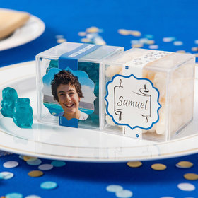 Personalized Bar Mitzvah JUST CANDY® favor cube with Gummy Bears