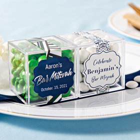 Personalized Bar Mitzvah JUST CANDY® favor cube with Just Candy Milk Chocolate Minis