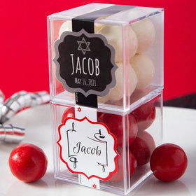 Personalized Bar Mitzvah JUST CANDY® favor cube with Premium Malted Milk Balls