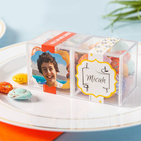 Personalized Bar Mitzvah JUST CANDY® favor cube with Premium Milk Chocolate Candy Sea Shells