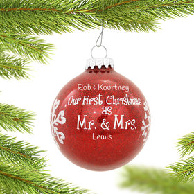 Personalized Our First Christmas as Mr. & Mrs. Red Glitter Glass Ball