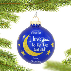 Personalized I Love You To The Moon And Back Gold Glitter
