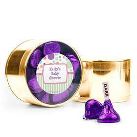 Personalized Baby Shower Favor Assembled Medium Round Plastic Tin Filled with Hershey's Kisses