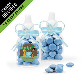 Personalized Baby Shower Favor Assembled Light Blue Baby Bottle Filled with Just Candy Milk Chocolate Minis