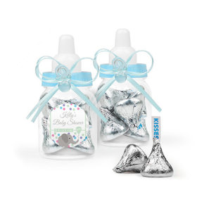 Personalized Baby Shower Favor Assembled Light Blue Baby Bottle Filled with Hershey's Kisses