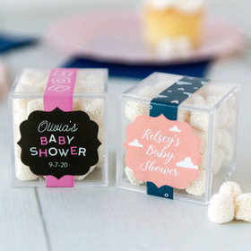 Personalized Baby Shower JUST CANDY® favor cube with Jelly Belly Gumdrops