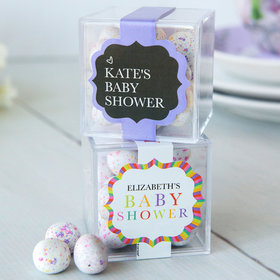 Personalized Baby Shower JUST CANDY® favor cube with Premium Confetti Cookie Bites