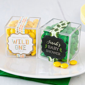 Personalized Baby Shower JUST CANDY® favor cube with Just Candy Milk Chocolate Minis
