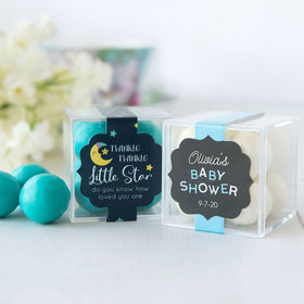 Personalized Baby Shower JUST CANDY® favor cube with Premium Malted Milk Balls