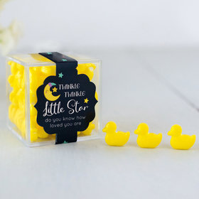 Personalized Baby Shower JUST CANDY® favor cube with Quackers Ducks