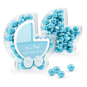 Personalized Baby Shower Favor Assembled Plastic Baby Stroller Box Filled with Sixlets