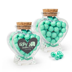 Personalized Baby Shower Favor Assembled Heart Jar Filled with Sixlets