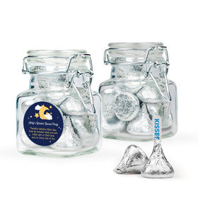 Personalized Baby Shower Favor Assembled Swing Top Square Jar Filled with Hershey's Kisses