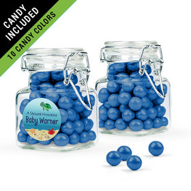 Personalized Baby Shower Favor Assembled Swing Top Square Jar Filled with Sixlets