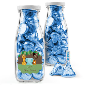 Personalized Baby Shower Favor Assembled Milk Bottle Jar Filled with Hershey's Kisses
