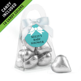 Personalized Baby Shower Favor Assembled Purse Filled with Milk Chocolate Hearts