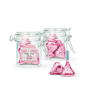 Personalized Baby Shower Favor Assembled Swing Top Round Jar Filled with Hershey's Kisses