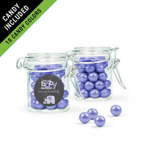 Personalized Baby Shower Favor Assembled Swing Top Round Jar Filled with Sixlets