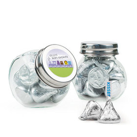 Personalized Baby Shower Favor Assembled Mini Side Jar Filled with Hershey's Kisses