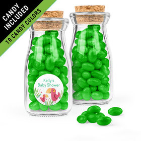 Personalized Baby Shower Favor Assembled Glass Bottle with Cork Top Filled with Just Candy Jelly Beans