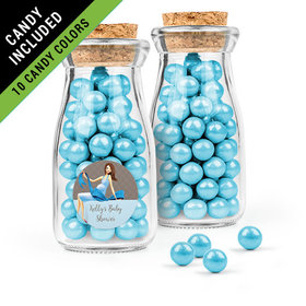 Personalized Baby Shower Favor Assembled Glass Bottle with Cork Top Filled with Sixlets