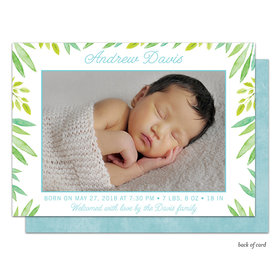 Bonnie Marcus Collection Personalized Baby Safari Blue Birth Announcement