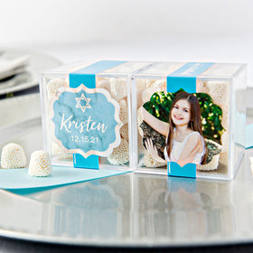 Personalized Bat Mitzvah JUST CANDY® favor cube with Jelly Belly Gumdrops
