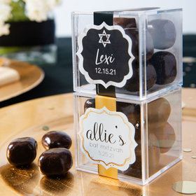 Personalized Bat Mitzvah JUST CANDY® favor cube with Premium Milk & Dark Chocolate Sea Salt Caramels