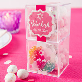 Personalized Bat Mitzvah JUST CANDY® favor cube with Premium Confetti Cookie Bites