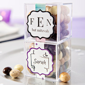 Personalized Bat Mitzvah JUST CANDY® favor cube with Premium New York Espresso Beans
