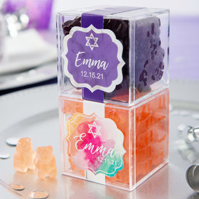 Personalized Bat Mitzvah JUST CANDY® favor cube with Gummy Bears